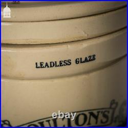 19th C Doultons Lambeth Cream Enamelled Stoneware Size 2 Manganous Carbon Water
