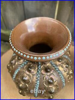ANTIQUE pottery DOULTON SLATERS PATENT VASES rare gold glaze stoneware Lambeth