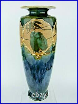 A 14 Tall Doulton Lambeth Vase Decorated with Exotic Birds by Florence Barlow