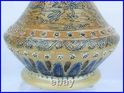 A Magnificent Doulton Lambeth Vase Decorated with Running Deer-Hannah Barlow