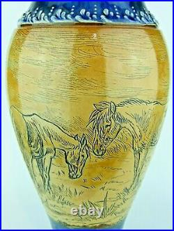A Monumental Doulton Lambeth Vase Decorated with Horses by Hannah Barlow. 16
