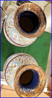 A Pair Of Victorian Doulton Lambeth Vases