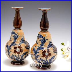 A Pair of Doulton Lambeth Stoneware'Slaters Patent' Gourd Shape Vases c1896