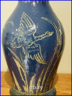 A Rare Doulton Lambeth Geese in Flight Blue Ground Vase by Hannah Barlow. 1877