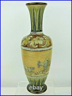 A Rare Doulton Lambeth Hunting Dog Vase by Hannah Barlow & Frank Butler
