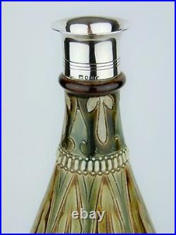 A Rare Doulton Lambeth Sterling Silver Rimmed Vase by Frank Butler. Dated 1875