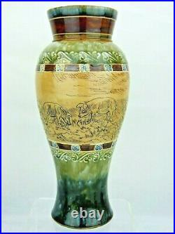 A Rare Doulton Lambeth Vase Decorated with Grazing Pigs by Hannah Barlow