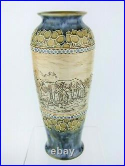 A Stunning Art Nouveau Doulton Lambeth Vase by Hannah Barlow. Horses & Cattle