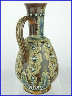 A Stunning Doulton Lambeth Scrolling Seaweed Jug by George Tinworth. Dated 1875