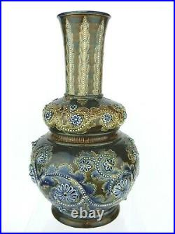 A Super Doulton Lambeth Scrolling Seaweed Gourd Shaped Vase by George Tinworth