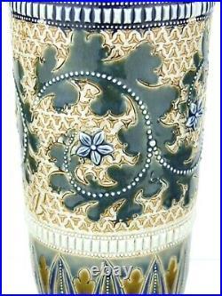 A Super Doulton Lambeth Scrolling Seaweed Vase by George Tinworth. Dated 1878