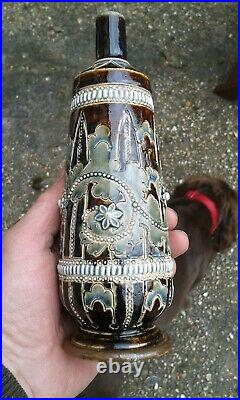 A Very Nice Early Doulton Signed George Tinworth Bottle/ Vase C1876