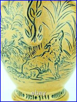 A Very Rare Doulton Lambeth Silver Rim Jug Fox & Hound Decoration-Hannah Barlow
