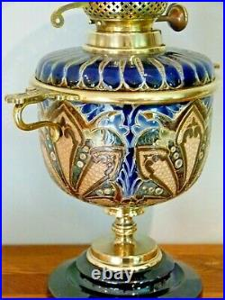 An Absolutely Stunning Victorian Doulton Lambeth Oil Lamp by Edith Lupton