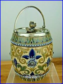 An Exquisite Doulton Lambeth Biscuit Barrel by Edith Lupton. Dated 1880