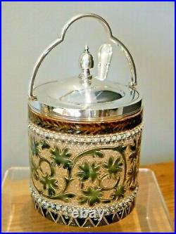 An Exquisite Doulton Lambeth Preserve/ Honey Pot with Silver Plated Lid & Spoon