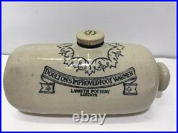 Antique 1881 Lambeth Stoneware Doulton's Hot Water Foot Warmer London England
