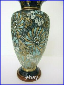 Antique DOULTON LAMBETH ENGLAND SLATER'S PATENT Stoneware VASE 8 1/2 High