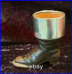 Antique Doulton Lambeth Boot Match Holder With 1894 Sterling Silver Collar