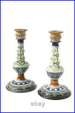 Antique Doulton Lambeth Candlesticks Emily Partington Arts and Crafts Circa 1880