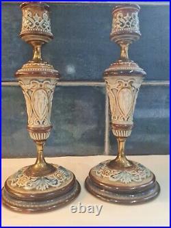 Antique Doulton Lambeth Candlesticks Matching Pair Art Nouveau Excellent Example