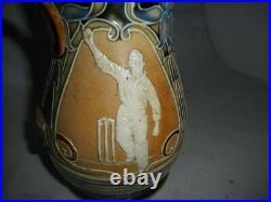 Antique Doulton Lambeth Cricket Stoneware Jug