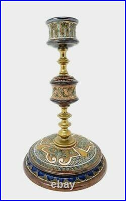 Antique Doulton Lambeth Decorated Stoneware Candlestick by Frank Butler