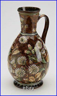 Antique Doulton Lambeth Faience Floral Painted Jug 1877