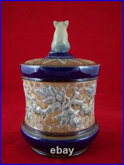 Antique Doulton Lambeth George Tinworth Mouse Tobacco Jar 7 inches tall