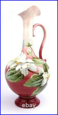 Antique Doulton Lambeth Jug Ewer Floral Pink 1881-1910