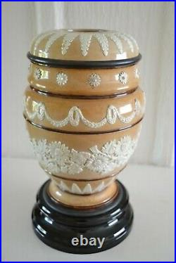 Antique Doulton Lambeth Oil Lamp Burner Base c 1880 Adelade Aaron 12