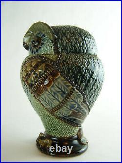 Antique Doulton Lambeth Owl Tobacco Jar Mark V Marshall Designed 7 inches tall