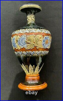 Antique Doulton Lambeth Stoneware Baluster Vase, Incised Flowers and Leaves