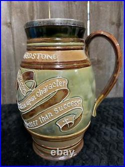 Antique, Doulton, Lambeth, Stoneware Pitcher Commemorating Gladstone (p. M.) 1898
