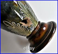 Antique Doulton Lambeth Vase Impressed Mark 8724 Stoneware For Repair 23cm tall