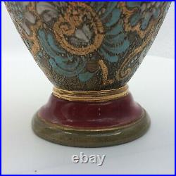 Antique Pair Of Doulton Lambeth Slaters Patent Stoneware Gilded Floral Vases