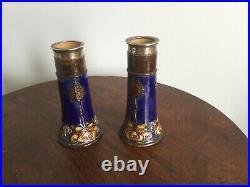 Antique Pair Of Silver Mounted Royal Daulton Stoneware Vases