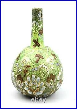 Antique Victorian Doulton Lambeth Bottle Vase Green Floral Spray