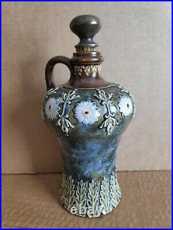 Antique Victorian Doulton Lambeth stoneware flagon with solid silver stopper