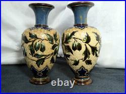BEAUTIFUL PAIR of 1887 Doulton LAMBETH STONEWARE Cabinet Vases ELIZA SIMMANCE