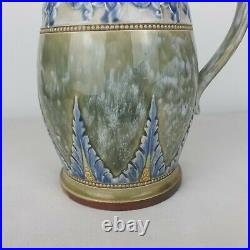 Beautiful Antique Doulton Lambeth England Blue/Green Floral Stoneware Jug/Vase