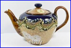 Beautiful Doulton Lambeth 9198 Teapot Beautiful Lace Design with White Flowers