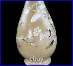 C1879 Antique Doulton Impasto Ware Bottle Vase Stylised Flowers