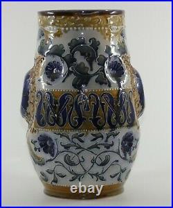 DOULTON LAMBETH ENGLAND STONEWARE JUG MVM MARK MARSHALL decorated