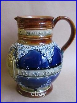 DOULTON LAMBETH QUEEN VICTORIA DIAMOND JUBILEE PITCHER 1897 JOAN HONEY (Ref4059)