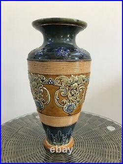 Doulton Blue Floral Vase, Lambeth Stoneware with signature LB