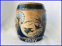 Doulton Lambeth Aesthetic Movement Jar c1881 signed Florence Barlow
