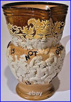 Doulton Lambeth Antique Stoneware Bacchus Beer Jug Pitcher Good Enough Too Good