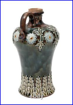 Doulton Lambeth Antique Victorian Stoneware Flagon with Dark Mottled Glaze