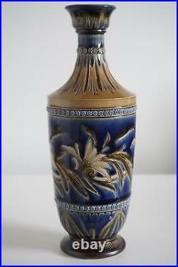 Doulton Lambeth Art Pottery Vase Foliate Design Florence Barlow c. 1879